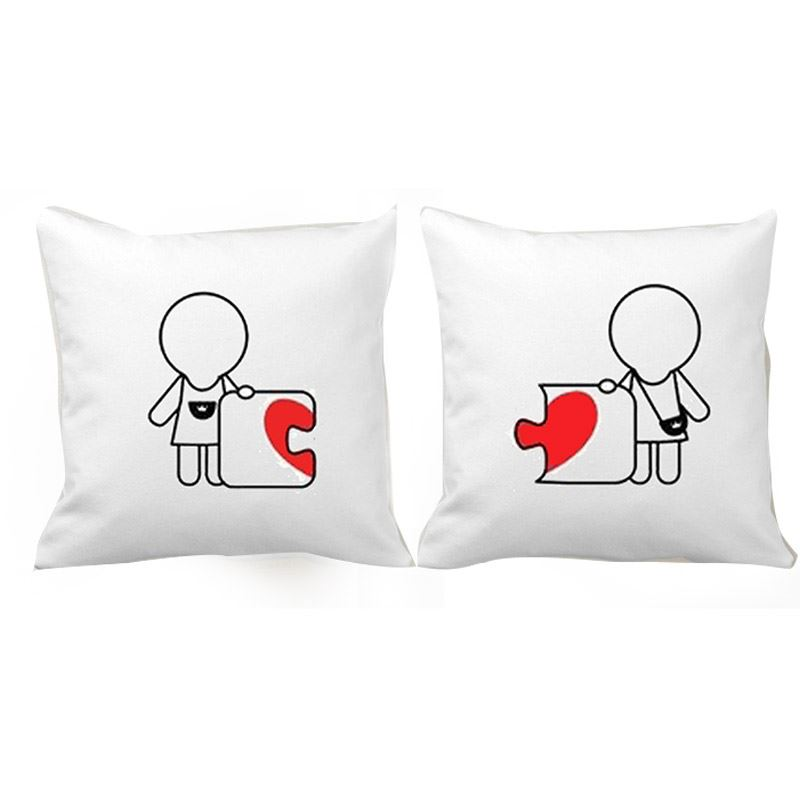 Red Heart Shaped Puzzle Couple Cushion