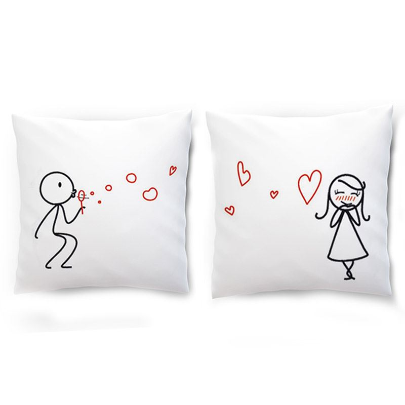 Blowing Love Bubbles Couple Cushion