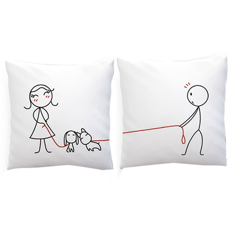 Walking the Dogs Together Couple Cushion