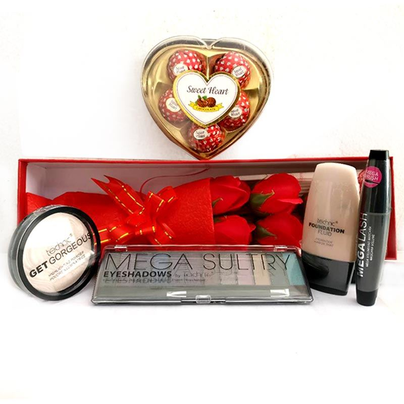 Valentines Technic Makeup Package 3 with Red Roses from Hallmark