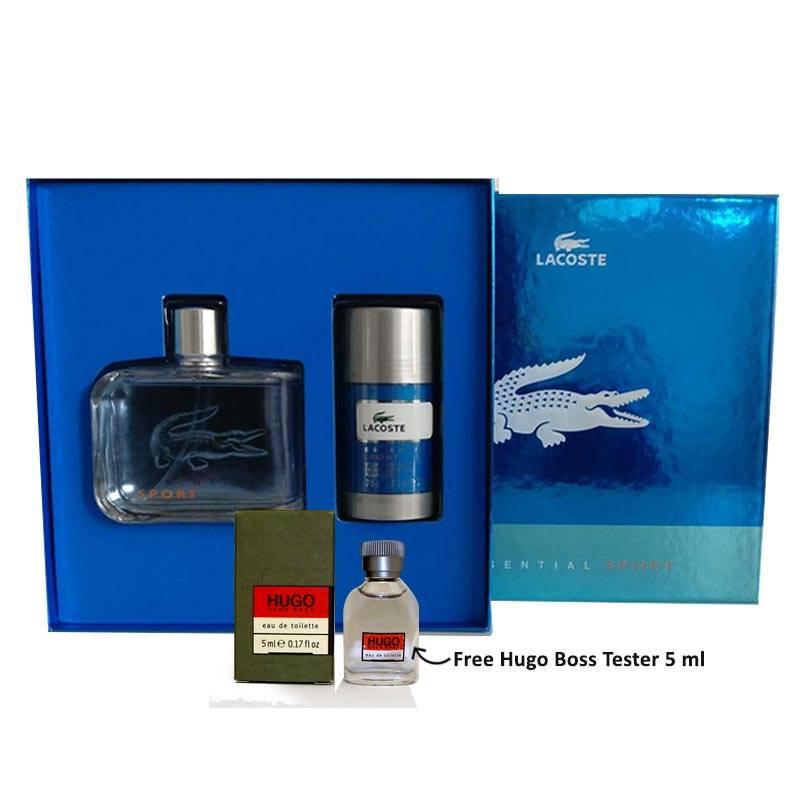 Lacoste Essential Sport Gift Set for Men (Free Hugo Boss Tester 5ml)