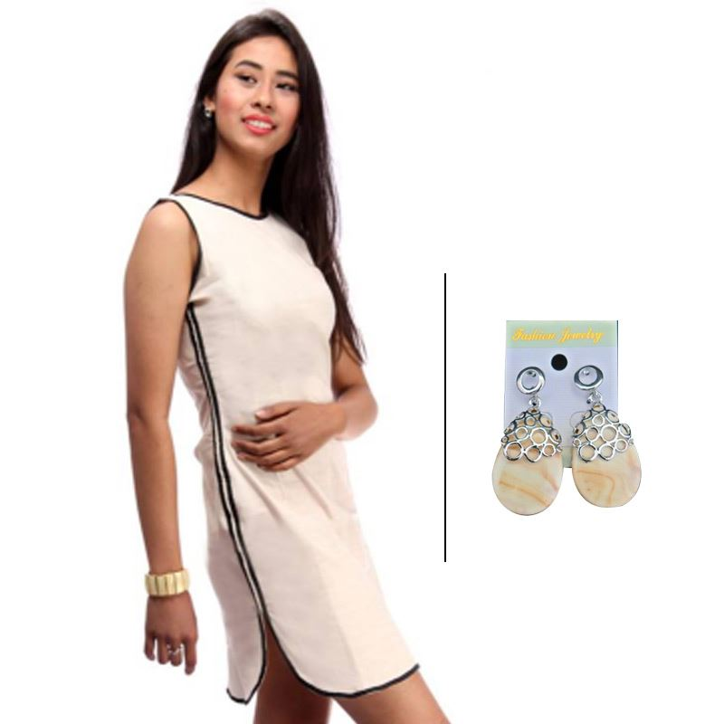 BJ White Linen Dress with Contrast Piping and Korean Earrings