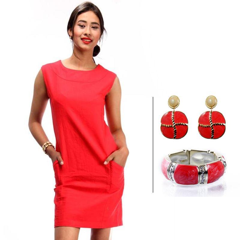 BJ Red Sleeveless Linen Pencil Dress and Korean Red Bracelet and Korean New Fashion Earrings