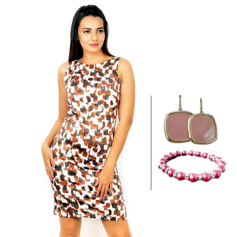 BJ Sleeveless Printed Pencil Dress and Pink Fancy Bracelet and Korean Pink Danglers