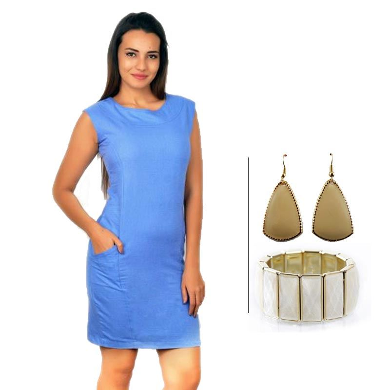BJ Blue Sleeveless Linen Pencil Dress and Korean Fashion Bracelet and Korean Elegant Drop Earrings