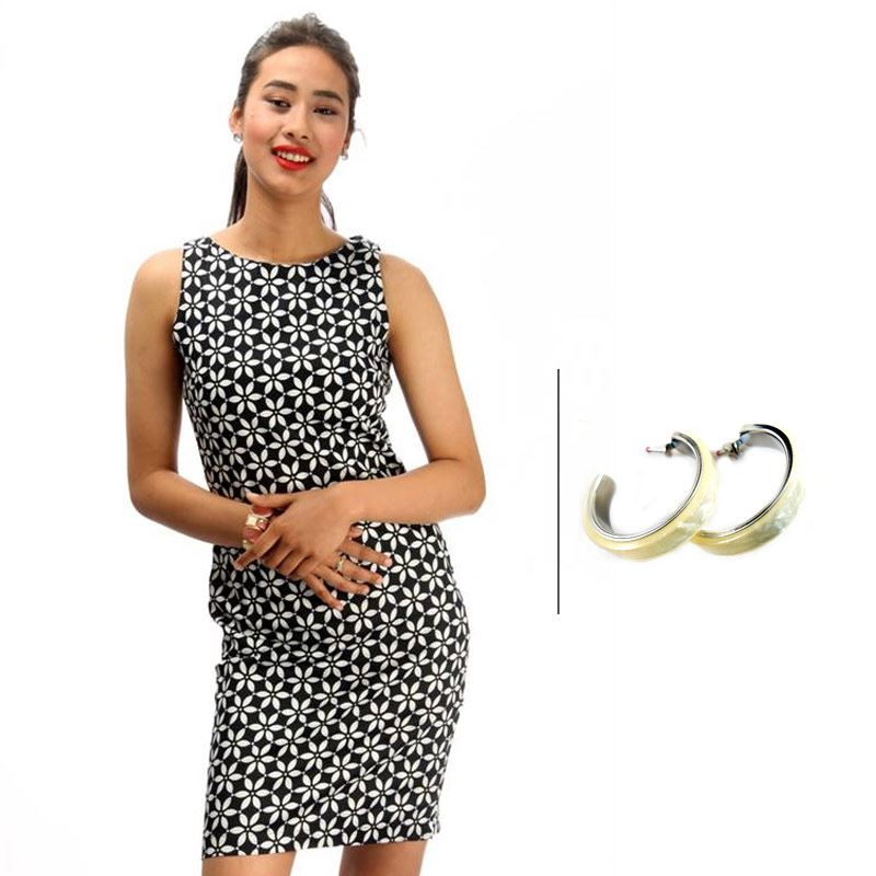 BJ Sleeveless Printed Pencil Dress and Korean White Round Hoop Earrings