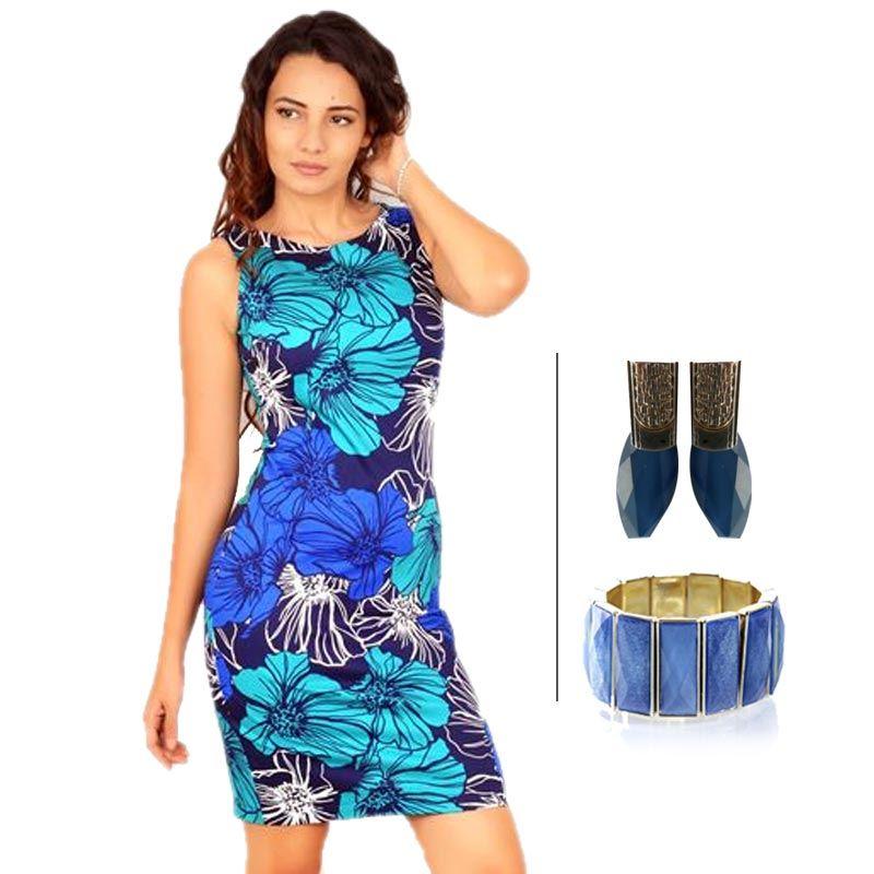 BJ Sleeveless Printed Pencil Dress and Korean Blue Danglers and Korean Fashion Bracelet