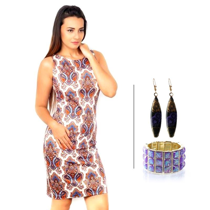 BJ Sleeveless Printed Pencil and Korean Fashion Bracelet and Korean Danglers