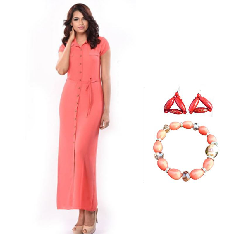 BJ Pink Half Sleeve Dress and Red Fancy Earrings and Korean Peach Bracelet