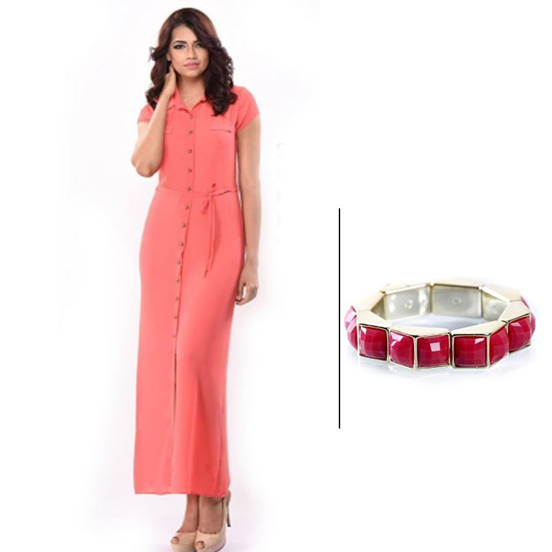 BJ Pink Half Sleeve Dress and Korean Pink Bracelet