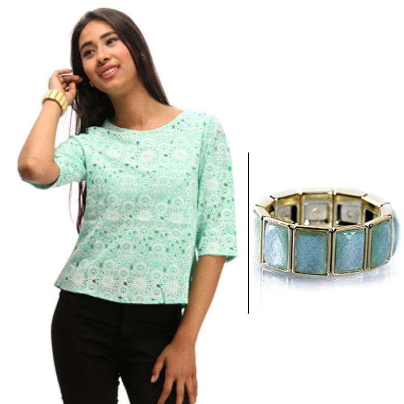 BJ Green Top and Green Bracelet