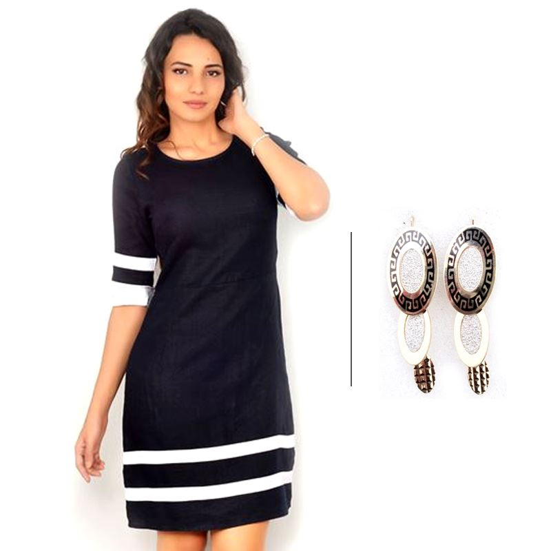 BJ Black Linen Dress with Contrast Bands and 3 Layer Golden And Silver Earrings
