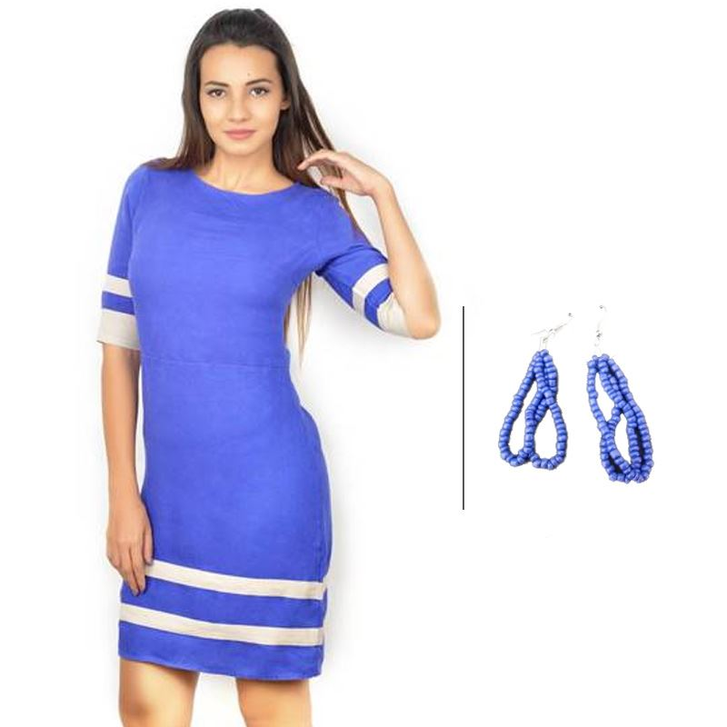 BJ Blue Linen Dress with Contrast Bands and Korean Purple Earrings