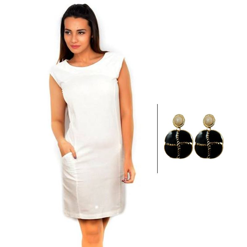 BJ White Sleeveless Linen Pencil Dress and Korean New Fashion Earrings
