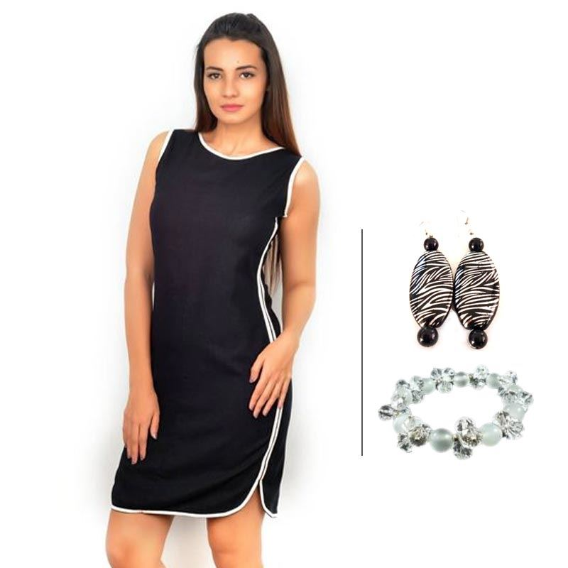 BJ Black Linen Dress with Contrast Piping and White Crystal Bracelet and Antique Earrings