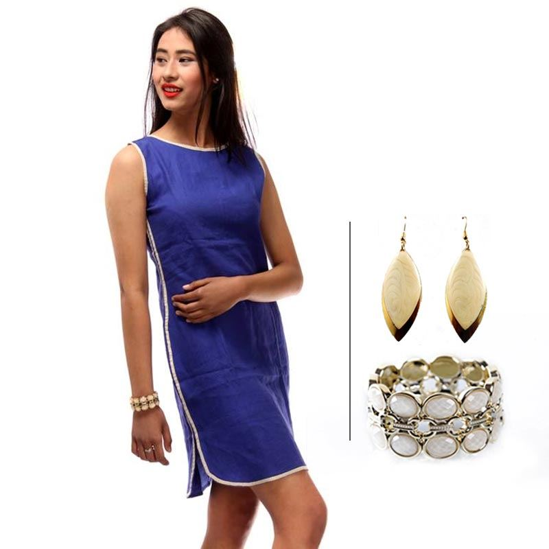 BJ Blue Linen Dress with Contrast Piping and Korean White Bracelet and Korean Danglers