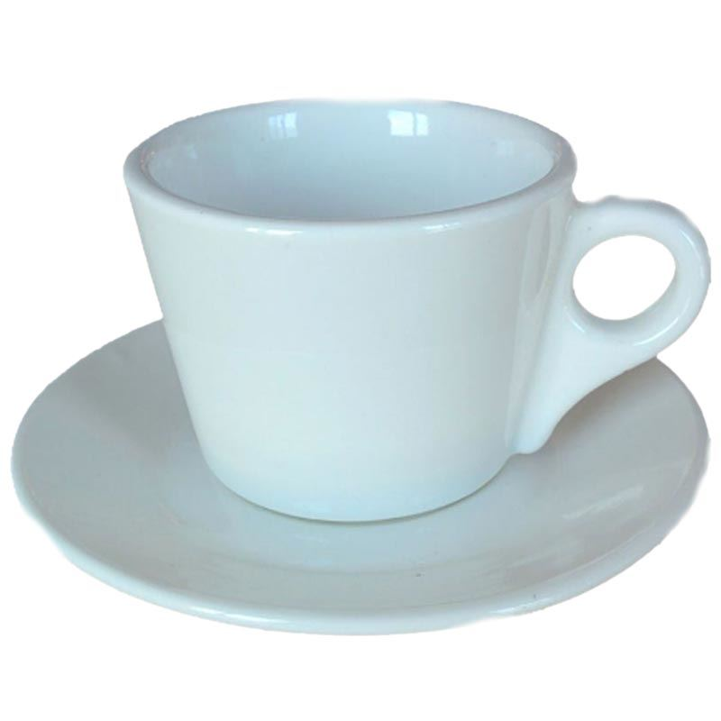 Classic White Porcelain Cappuccino Cup and Saucer