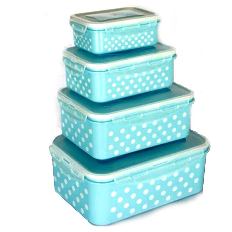 4 Pieces Rectangle Dotted Storage Box-(Stb-8826) Dotted