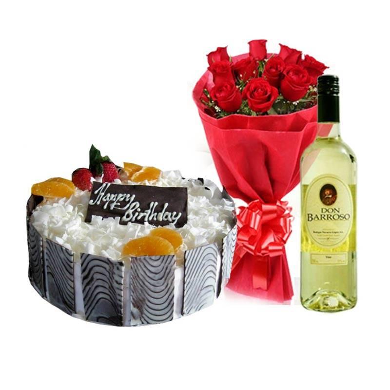 Birthday Prezzie with Cake, Flowers and Wine