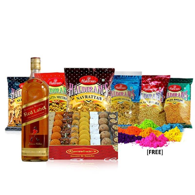 Holi Package with Sweets, Whisky, Snacks and Colors