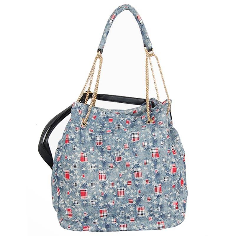 Womens Light Blue Half Chain Strap Tote Bag (C607) by SGN Moments