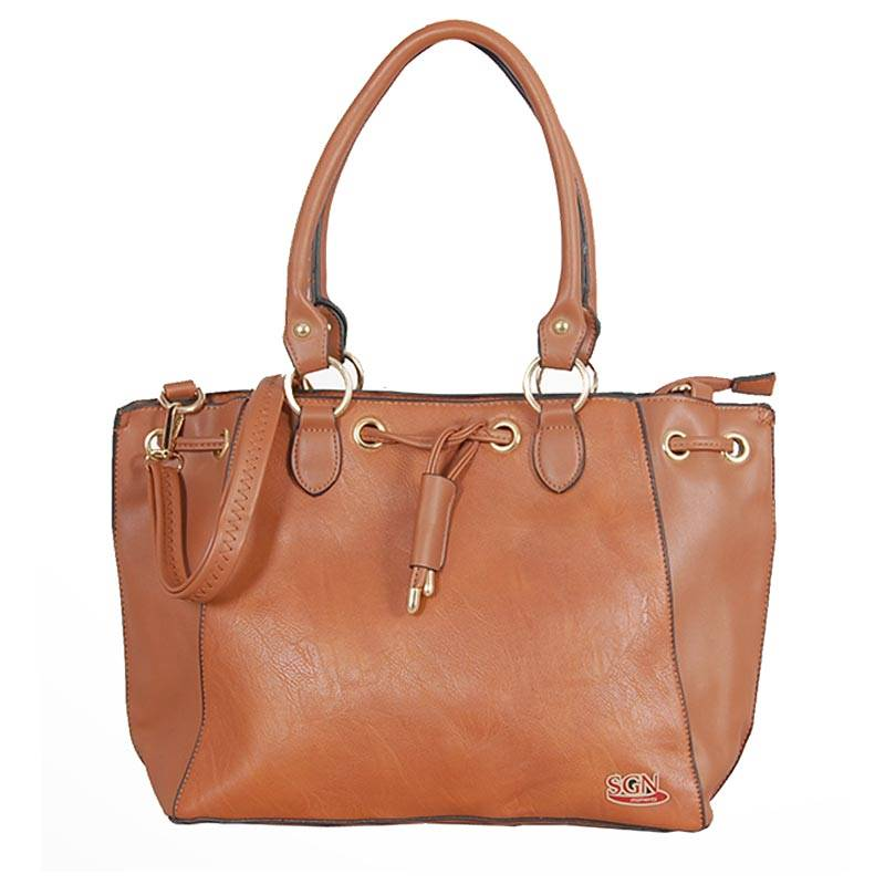 Womens Light Brown Shoulder Tote Bag (C609) by SGN Moments