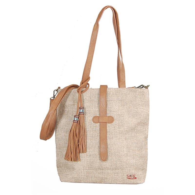 Womens Brown Tassel Tote Bag (C603) by SGN Moments