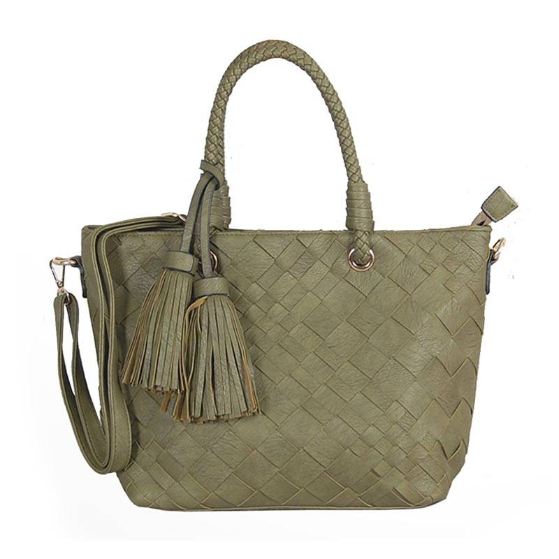 Womens Green Tassel Tote Bag (C601) by SGN Moments