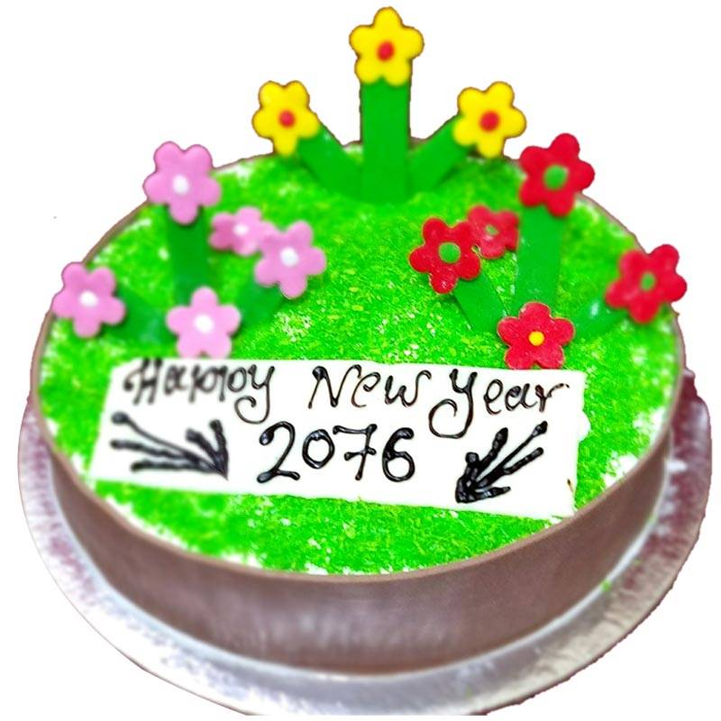 Happy New Year 2076 B.S White Forest Cake (1 Kg) from Chef's Bakery