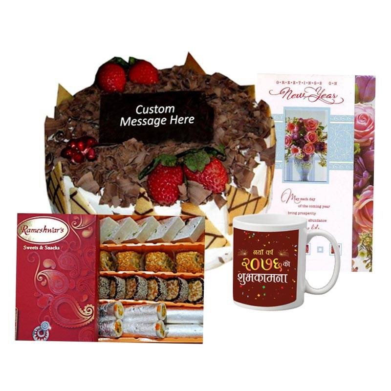 Black Forest Cake with Sweets, New Year Card and Mug