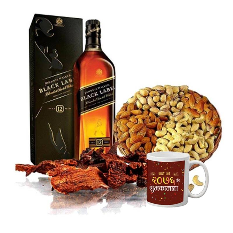 JW Black Label with New Year Mug, Dry Meat and Masala Basket