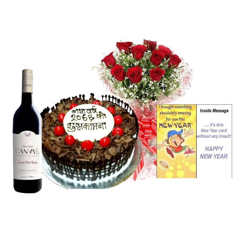 Black Forest Cake with Red Roses, Card and Wine