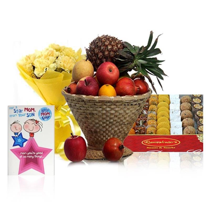 Rameshwaram Sweets, Fruit Basket, Card and Carnations