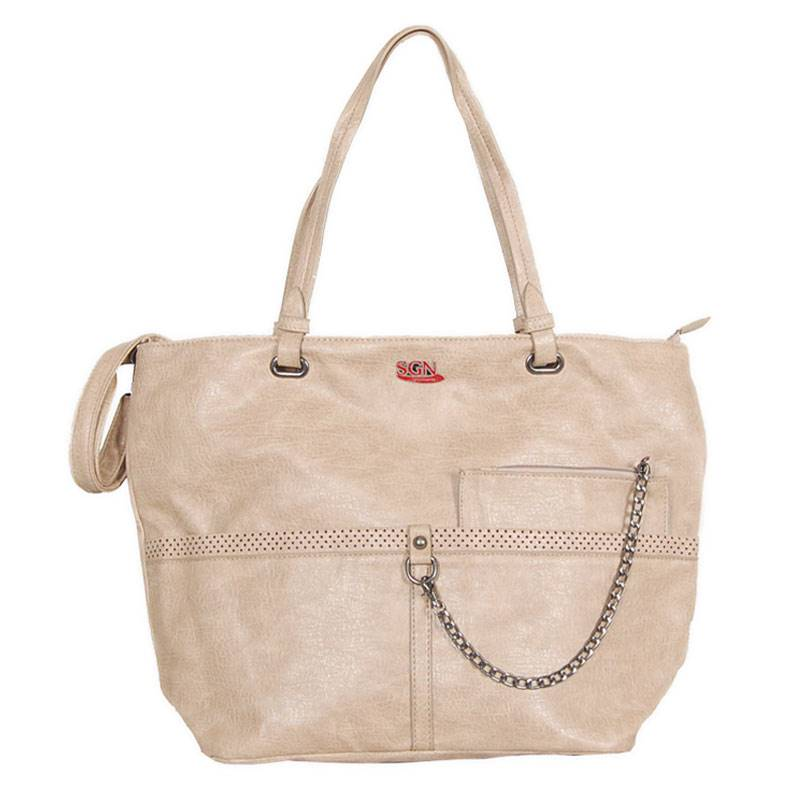 Womens Cream Shoulder Tote Bag (C702) by SGN Moments