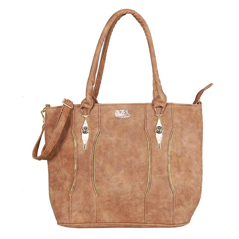 Womens Brown Shoulder Tote Bag (C701) by SGN Moments
