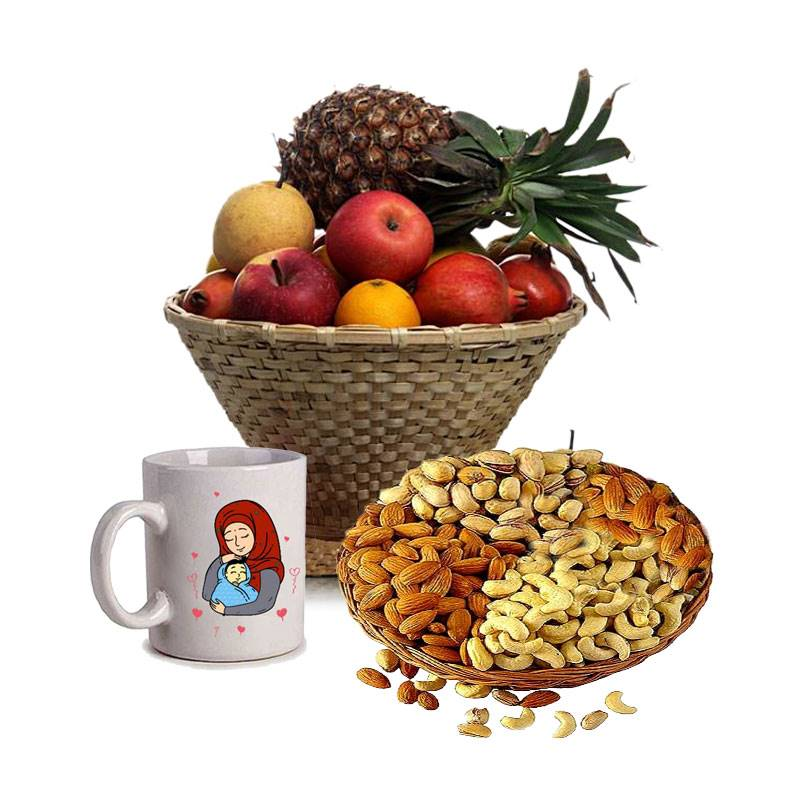 Masala Basket with Fruits and Mug for Mother's Day