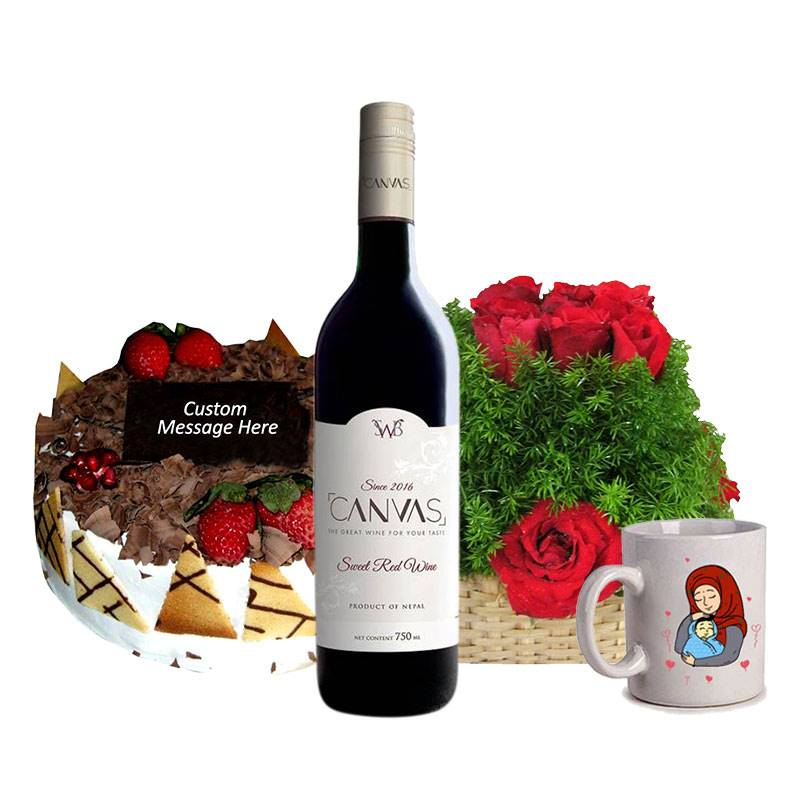 Black Forest Cake with Roses, Red Wine and Mug for Mother's Day