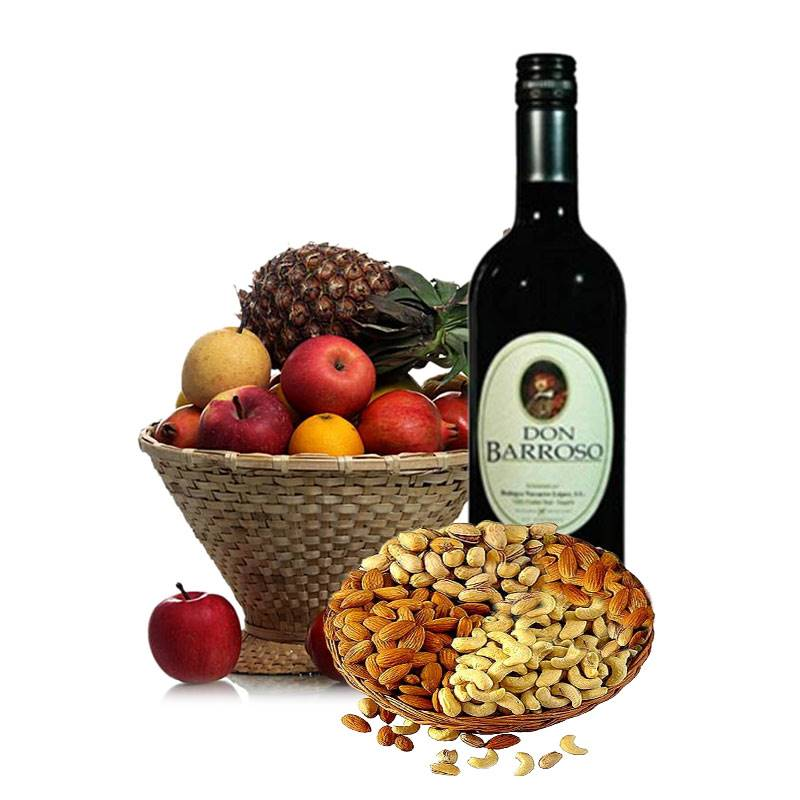 Masala Basket with Red Wine and Fruits