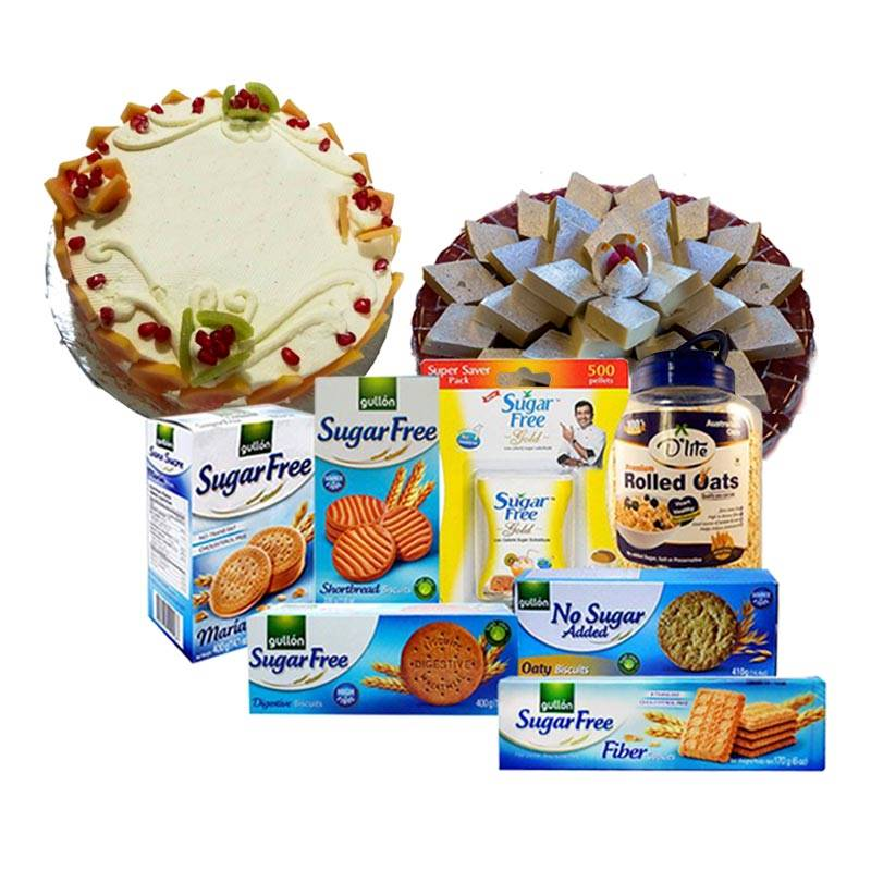 Sugarfree Package with Cake and Kaju Barfi for Mother's Day