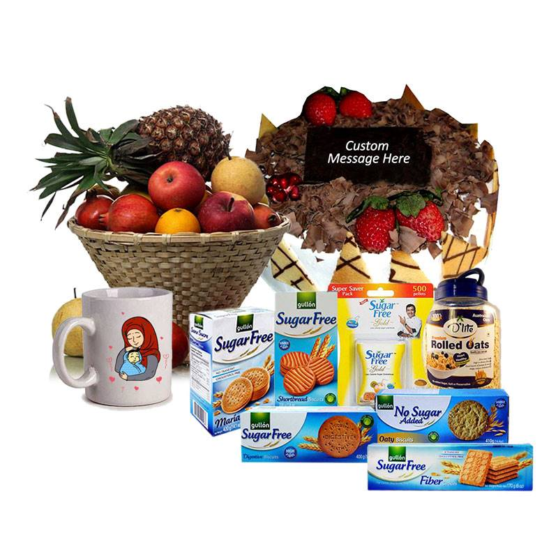 Sugarfree Package with Black Forest Cake, Mug and Fruits for Mother's Day