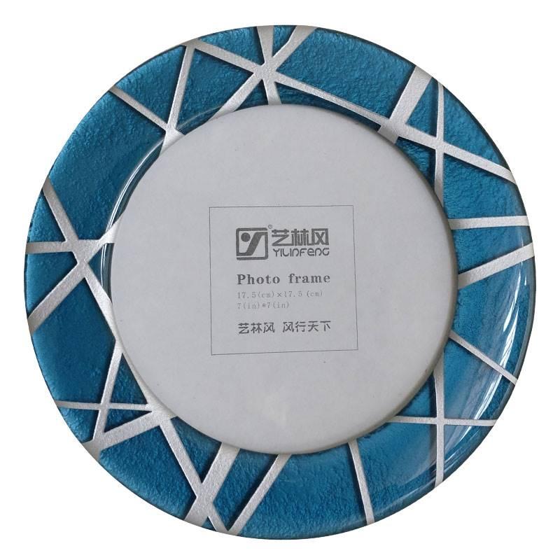 Blue Round Photo Frame