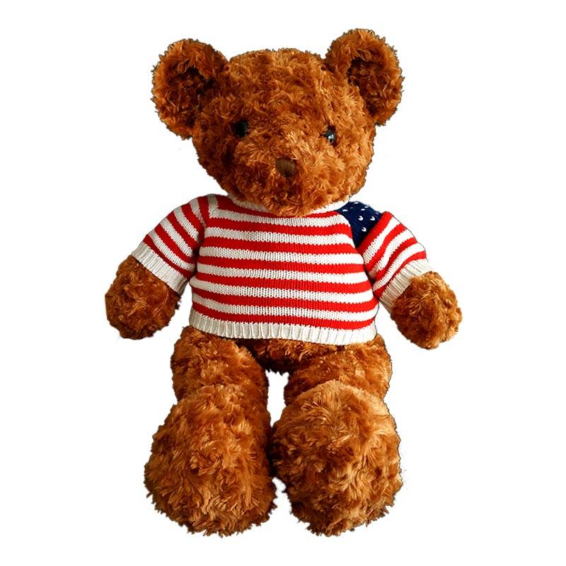 Brown Teddy Bear With Striped T-shirt