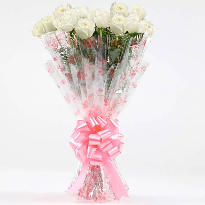 20 White Roses in Cellophane Packing