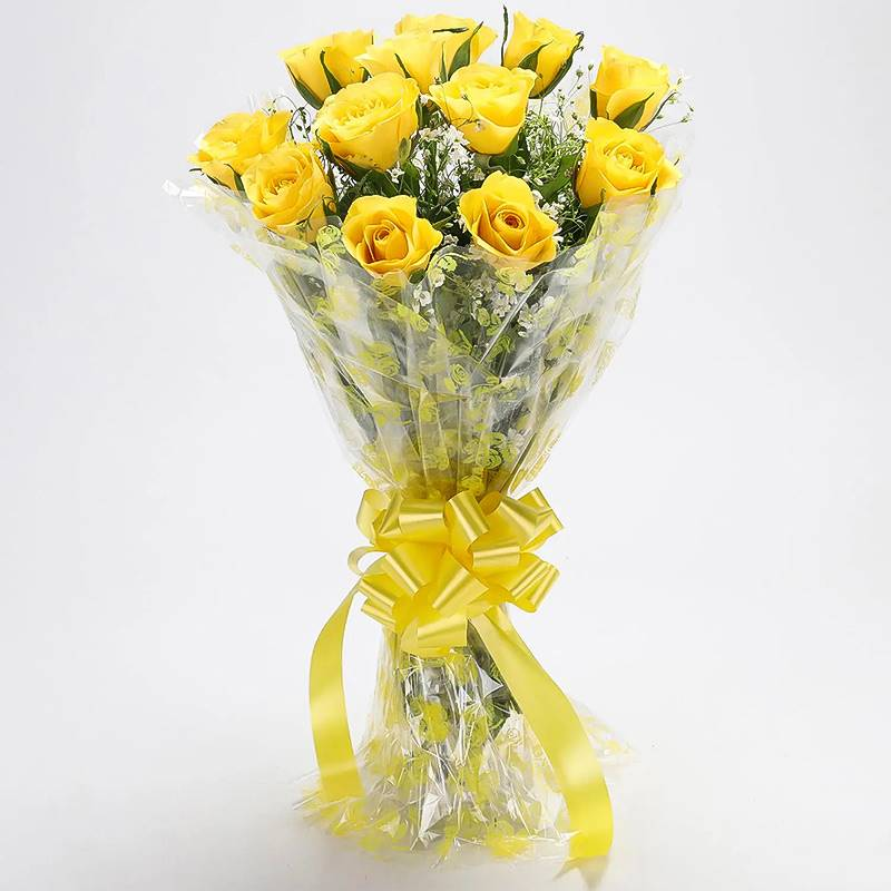 12 Yellow Roses in Cellophane Packing