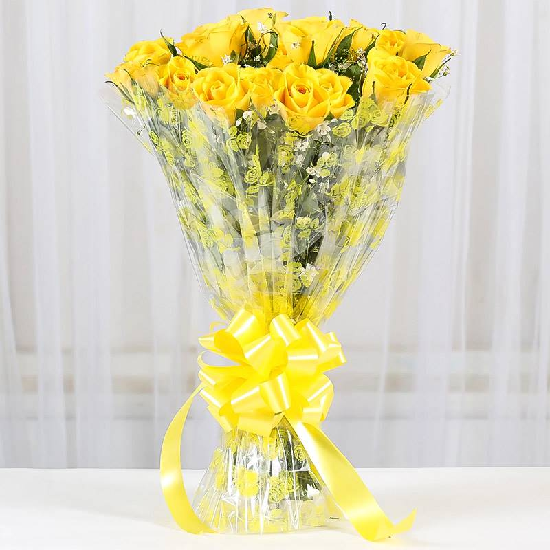 20 Yellow Roses in Cellophane Packing