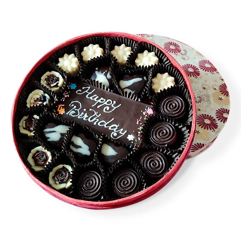 Circle Chocolate Box (220 g) - Text Options Available