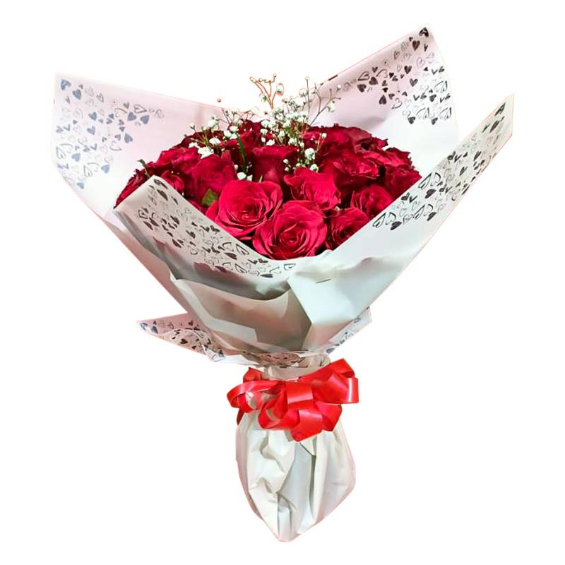 40 Red Roses with Baby's Breath Flowers in Soft Paper Packing