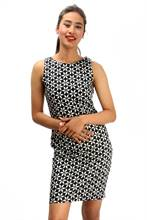 Bella Jones Sleeveless Printed Pencil Dress-SA040