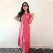 Bella Jones Short Sleeve Pink Long Dress-SA050