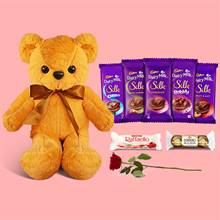Chocolate Delights with Brown Teddy and Rose